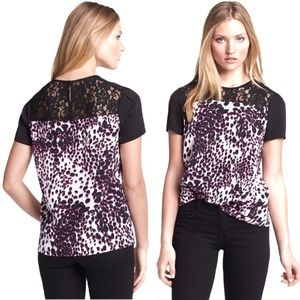 DVF Ainslee Silk Short Sleeve Animal Print Top | 2